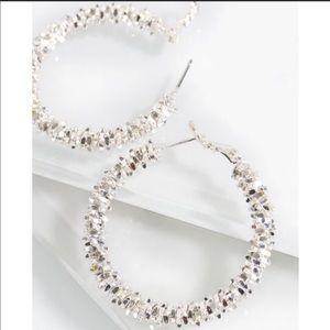 Jewelry - Silver Textured Metal Hoop Earrings